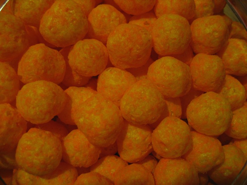 ... adjust your screens, these cheese balls are actually this orange