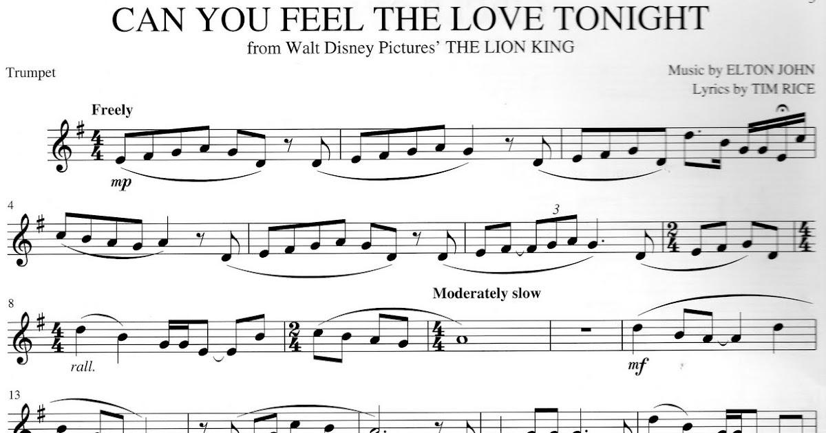 Piano lion king piano sheet music : Trumpet Sheet Music: Can You Feel The Love Tonight - Lion King