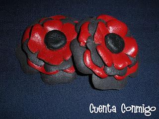 clips cuero flores