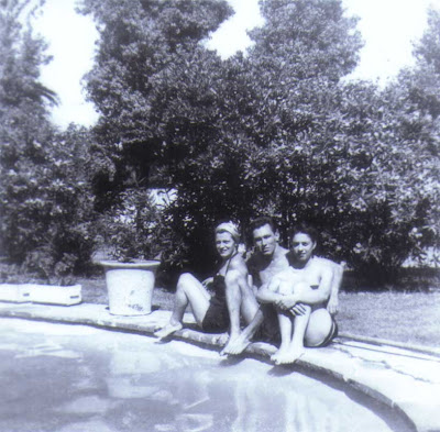 Pool Party - Del, Earl, Esther - circa 1954
