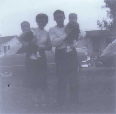 Del and Louis Holding Twins - circa 1950