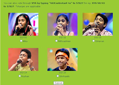 Vijay T.V. - Airtel Super Singer Junior II - voting