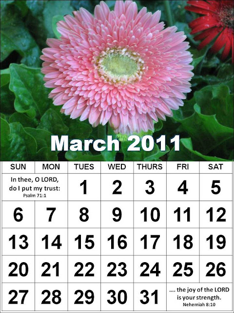 monthly calendar 2011 march. Christian March 2011 Calendar