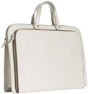 Prada lvory saffiano bifold zip briefcase bag