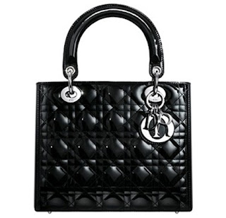 Christian Dior Black Quilted Patent Lady Dior bag