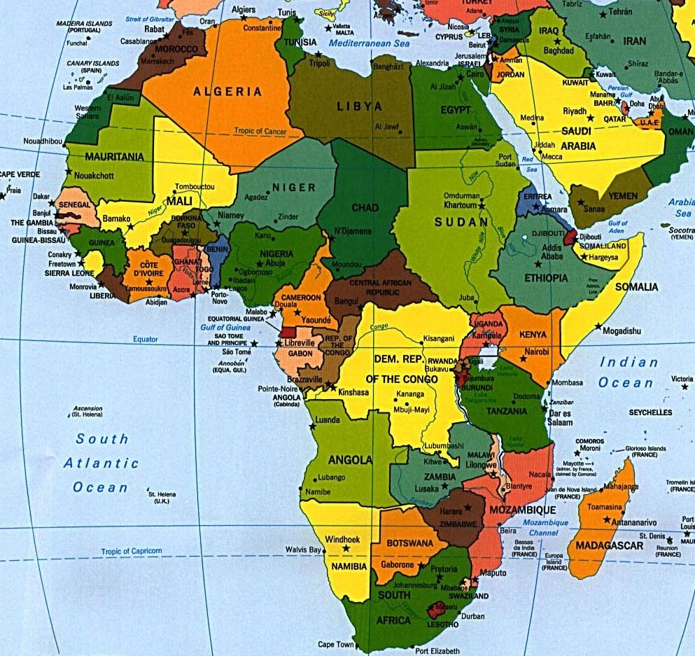 Afrika haritası afrika kıtasının haritası
