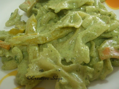 veg pasta with spinach walnut pesto