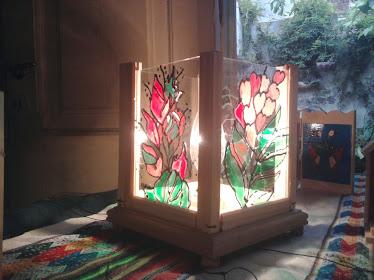 lampara con flores