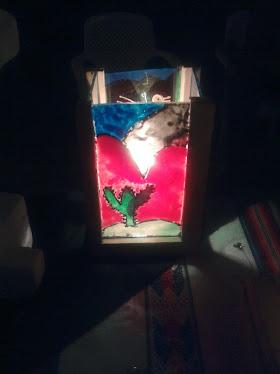 fanal de madera con vidrio