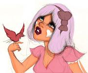 La caracteriza sus dibujos de chicas con ese estilo de muñeca de los 50's . fafii