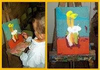 Pinturas en caballete usando de base una caja de cartón