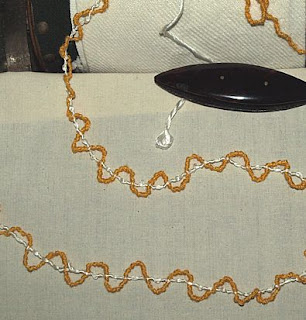 Below is another knotted silk trim - the yellow silk is first knotted