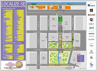mapa de localização dos estandes da 56ª Feira do Livro de Porto Alegre na Praça da Alfândega