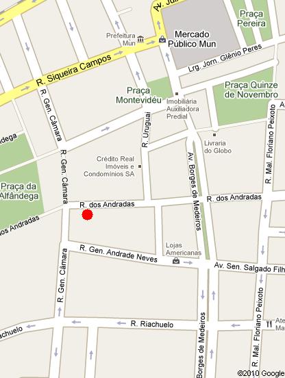 mapa de localização do Centro Cultural CEEE Érico Veríssimo, Auditório Barbosa Lessa, Rua dos Andradas nº 1223, Centro Histórico, Porto Alegre