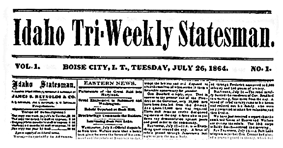 ... Distributes First Issue of The Idaho Statesman, in Boise [otd 07/26