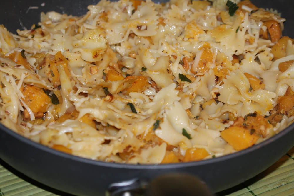 Pasta Pan-Fried with Butternut Squash, Fried Sage, and Walnuts