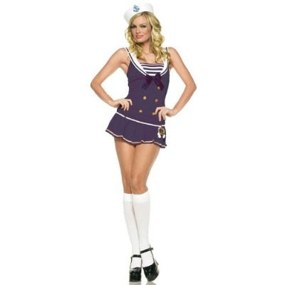 Blue Sailor Girl Pinup Dress Sexy Adult Halloween Costume Skimpy Naughty Pin