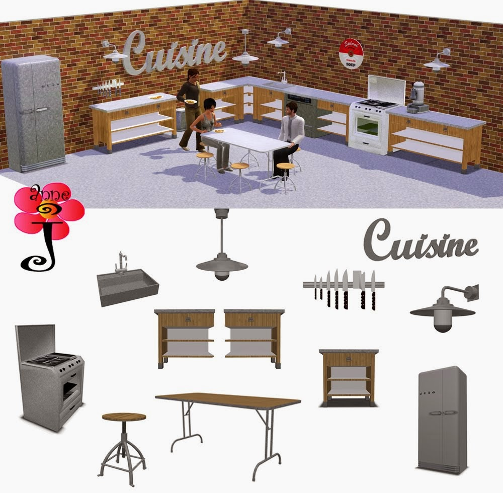 Sims must have indus kitchen cuisine part 1 by annej Meuble de cuisine sims 4 qui s imbrique