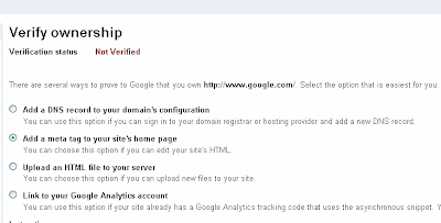 Verify Ownership in Google Webmaster Tools