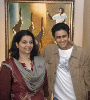 Anil Kumble with wife Chetana