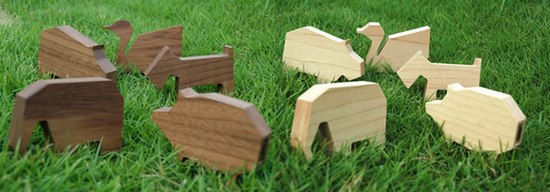 Wooden animals USB flash drive