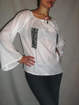 Bluza bumbac, cusaturi populare de mana 65 lei