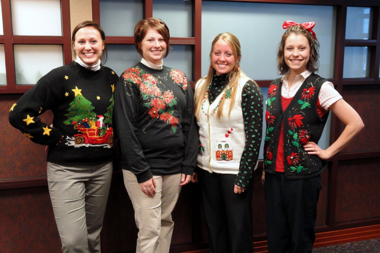 today was optional participation ugly sweater snack day at the office or opus a few of my co workers got into the spirit and sported some pretty