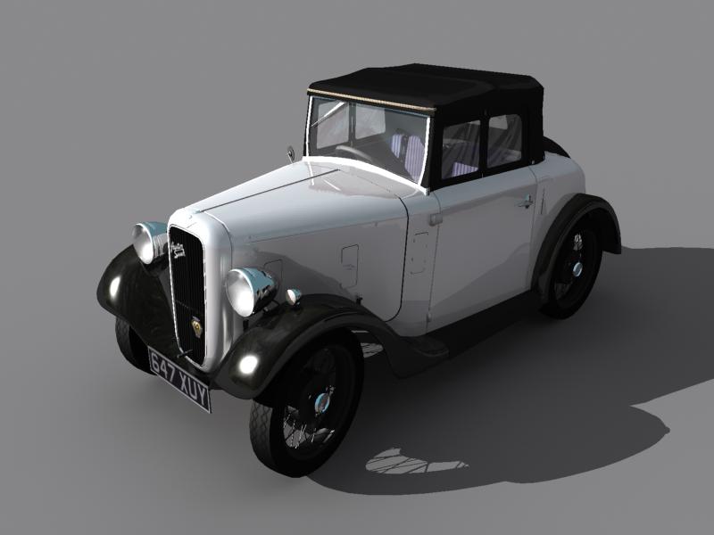 Graphic Artist Model Of Austin Seven Classic Car