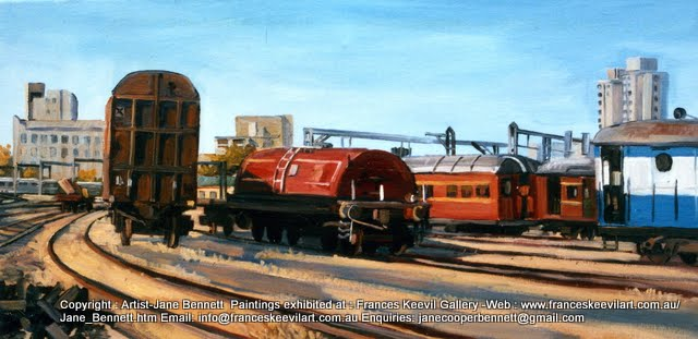 oil painting  of  trains at Carriageworks Eveleigh Railway Workshops by artist Jane Bennett