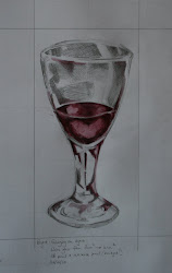 Enlarged wine glass - pencil & inktense pencil
