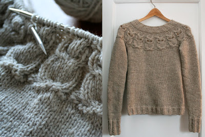 Free Knitting Pattern For Owl Sweater : Owl Pattern Sweater - Cardigan With Buttons