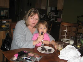 Trying to eat some of Linda's dessert!