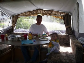 Our first breakfast in the camper!