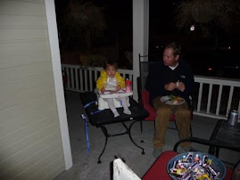 Having dinner on the front porch