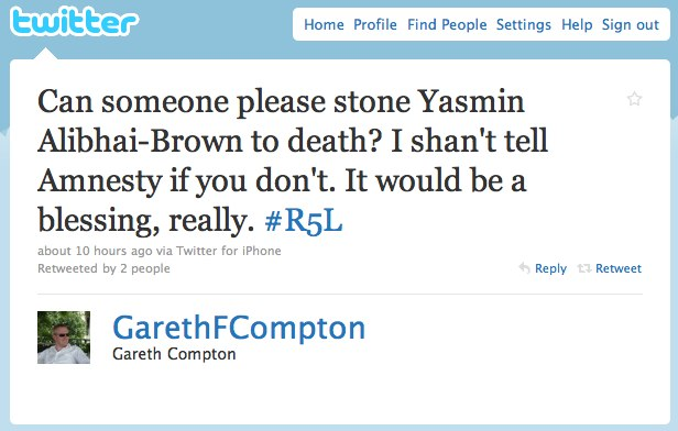 Another example of alleged wry humour gone wrong on twitter.