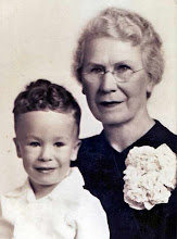 With his grandmother, Nellie Landblom, December 1945