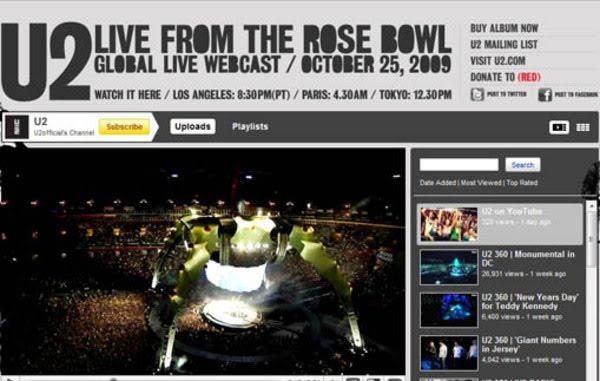 U2 transmitirá seu show ao vivo pelo Youtube