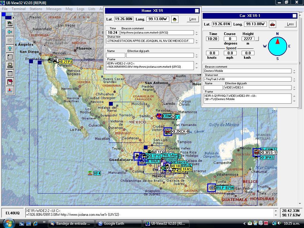 Mapa de Estaciones XE en APRS