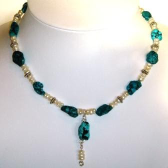 Turquoise & Seed Pearl Necklace