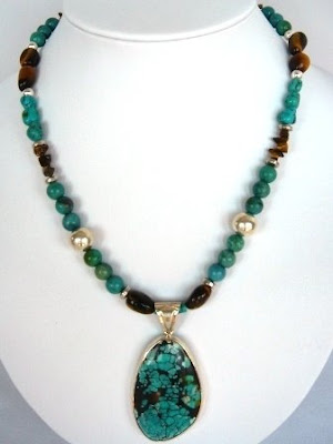 Turquoise Pendant Necklace with Tiger Eye