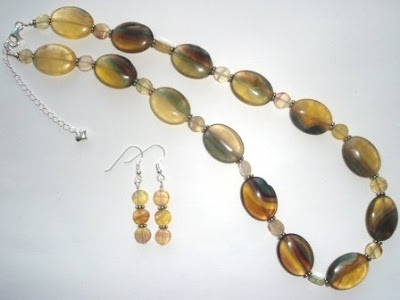 Yellow Fluorite Necklace and Earrings