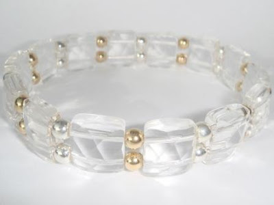 Clear Quartz bracelet with silver and gold