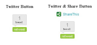 twitter and share button for blogger