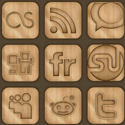 Free Wood Style Internet and Web Icons