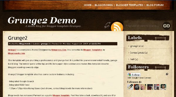 Grunge2 Wordpress and Blogger Theme Template