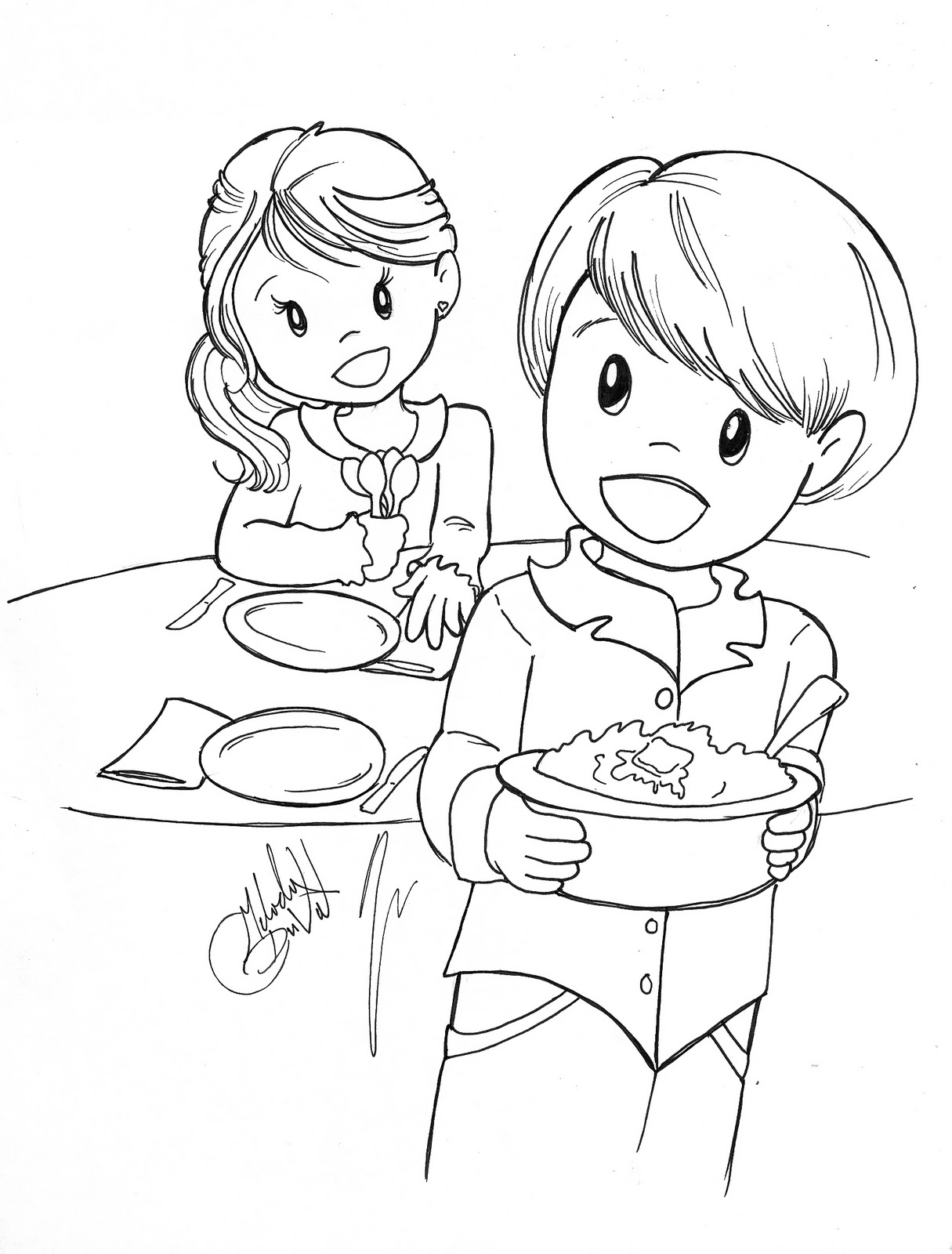 mom cooking coloring page