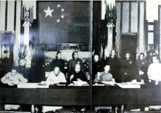 Signing of the Sino - Tibetan 17 Point Agreement / Or China's version: Agreement on Measures for the Peaceful Liberation of Tibet. The Tibetan delegation did not have authority to sign but was coerced by the threat of violence, and the Chinese forged the Seal on this 'Agreement'.