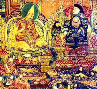The Great Fifth Dalai Lama seated on the throne with the Manchu Emperor Shun-Xi / Shunzhi on his visit.