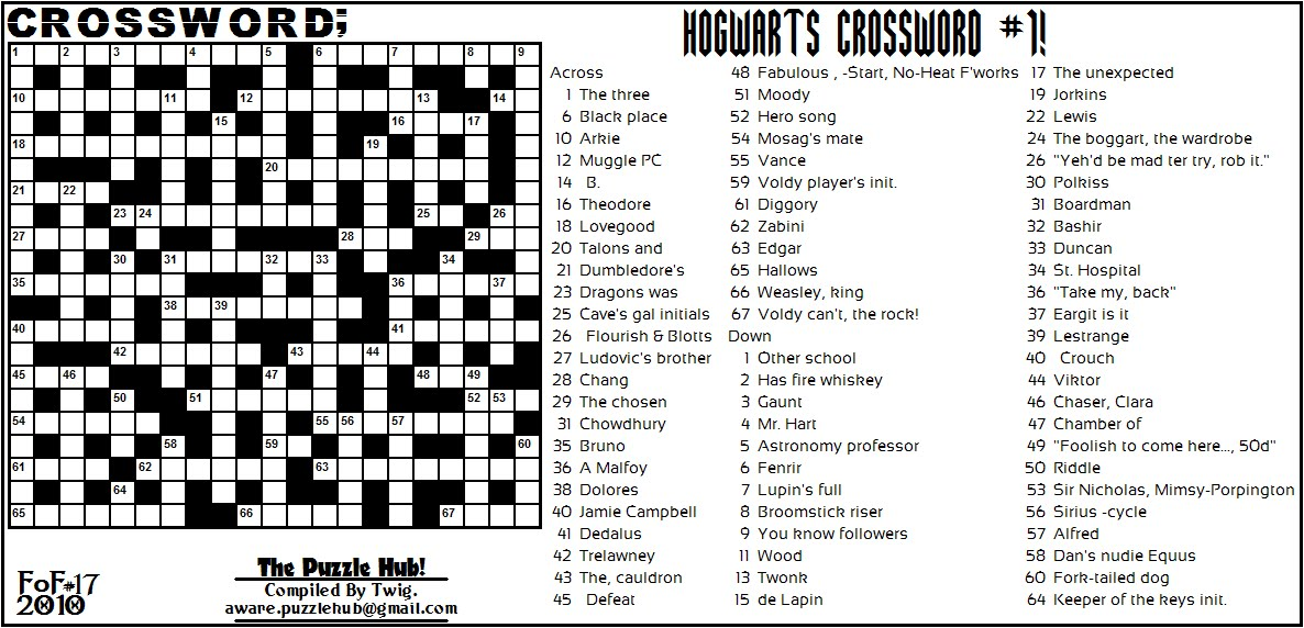 harry potter crossword puzzle pdf