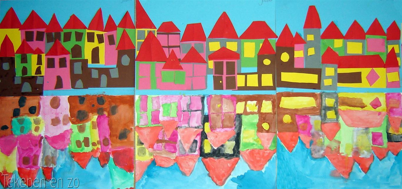 Tekenen en zo stad aan het water for Huizen tekenen